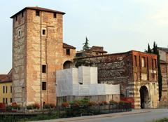 Stock Photo of ancient gate and walls of the medieval town of Vicenza in Italy