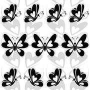 Seamless background, butterflies silhouettes Stock Illustration