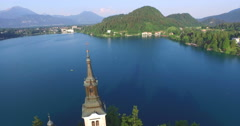 Aerial view of the Assumption of Maria church on lake Bled., Slovenia Stock Footage