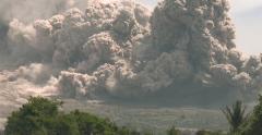 Huge Volcanic Eruption Pyroclastic Flow Destroyed Farmland - stock footage