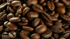 4k, Grains of coffee on a plate Stock Footage