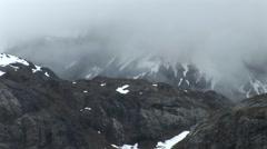Misty Alaska Mountains closeup panning shot Stock Footage