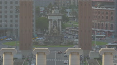 Plaza Espana Monument in Barcelona Stock Footage