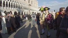 Venice, Palace of the Doges. Many people during Carnival. Stock Footage