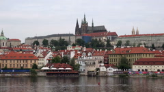 Castle Hradcany and Saint Vitus Cathedral over Lesser Town Stock Footage
