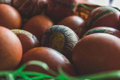 Easter eggs in a bowl - stock photo
