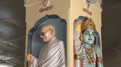 Interior of Bharat Mandir temple in Porbandar Stock Footage