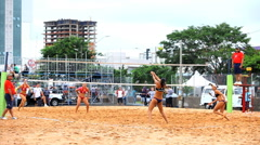 Volleyball on the beach. Competition. Games, winner Stock Footage