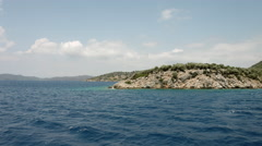 Wonderful view on one of the Aegean islands. Turkey. Travel by ship - stock footage