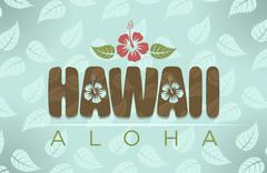 Vector illustration of Hawaii and aloha word - stock illustration