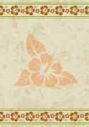 Vector grungy aloha background with tropical hibiscus flower - stock illustration