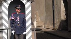 Prague Castle Guard Standing Still Stock Footage