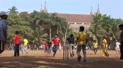 Indians playing cricket on the Oval Maidan Stock Footage