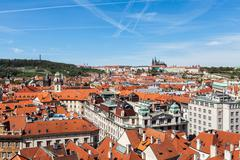View of Stare Mesto (Old City) and and St. Vitus Cathedral - stock photo