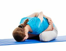 Yoga - young beautiful woman doing yoga asana excerise isolated - stock photo