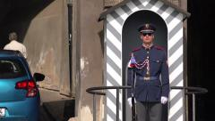 Prague Castle Guard Standing Still with Group of Tourists - stock footage