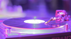 Vinyl record turning on DJ sound equipment, soundtrack playing - stock footage