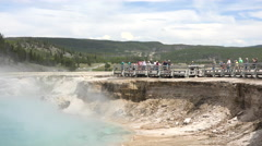 Yellowstone Midway Basin Excelsior Geyser tourism 4K Stock Footage