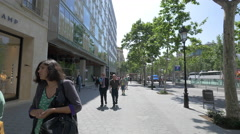 Walking on Passeig de Gracia in Barcelona Stock Footage