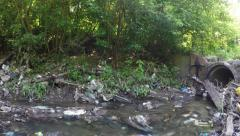 Polluted river. environmental issue wide shot - stock footage