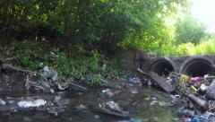 Polluted river. environmental issue panning shot - stock footage