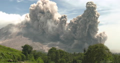 Huge Volcanic Eruption And Pyroclastic Flow Stock Footage