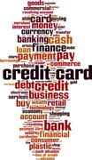 Credit card shopping word cloud - stock illustration