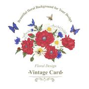 Summer Vintage Greeting Card with Blooming Red Poppies Stock Illustration