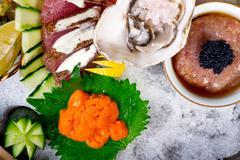 Fresh sushi choice combination assortment selection Stock Photos