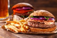 Classic Burger. Vintage style. - stock photo