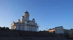 Helsinki cathedral at sunset. Wide Stock Footage