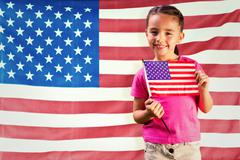 Composite image of little girl with american flag - stock illustration