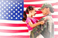 Stock Illustration of Composite image of solider reunited with daughter