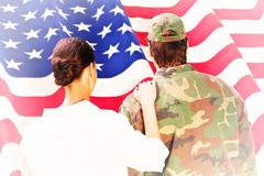 Stock Illustration of Composite image of army wife reunited with husband