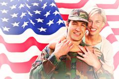 Composite image of army wife reunited with husband - stock illustration