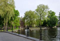 Minnewater lake in begijnhof of Bruges - stock photo