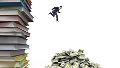 Composite image of geeky young businessman running mid air Stock Illustration