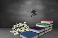 Composite image of geeky young businessman running mid air - stock illustration