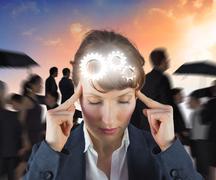 Composite image of stressed businesswoman Stock Illustration