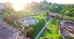 Aerial view of urban park in business park. Stock Footage