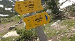 Bansko, Vihren mountaing peak direction signs, Bulgaria. UHD steadycam 4K sto Stock Footage