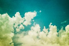 Vintage styled Cloudy and Sky - stock photo