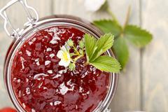 Traditional strawberry homemade jam. Stock Photos