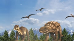 Migration of dinosaurs - stock footage