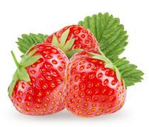Few strawberry on white background. - stock photo