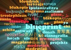 Blueprint multilanguage wordcloud background concept glowing - stock illustration