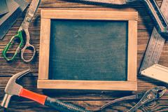 Vintage carpentry, construction hardware tools - stock photo