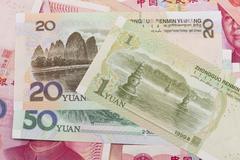 Chinese renminbi bank notes - stock photo