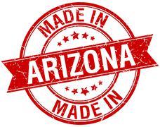 made in Arizona red round vintage stamp - stock illustration