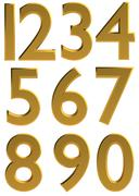 Gold 3d modern number font - stock illustration